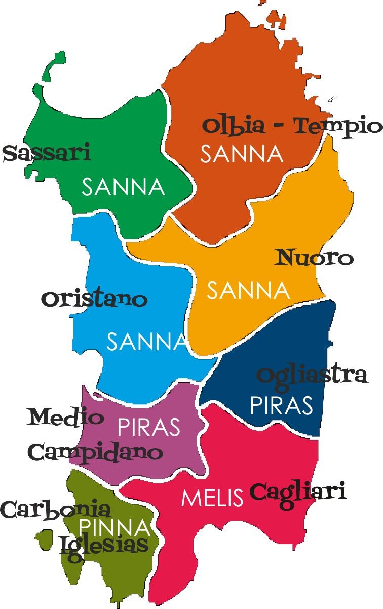 Cartina Sardegna 2017.Top 20 Cognomi Sardi